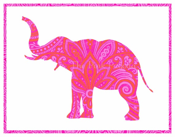 Tangerine Orange and Hot Pink Indian Paisley Elephant Silhouette Giclee 11x14