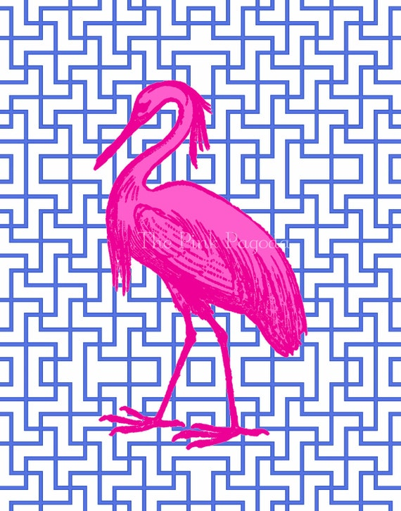 Hot Pink Egret on Navy Facing Left 8x10 Giclee