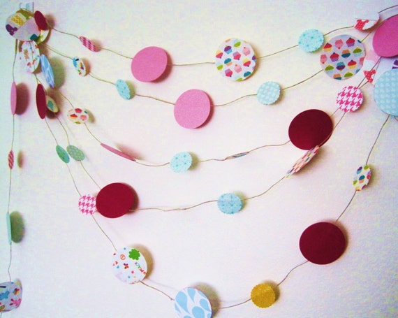paper garland - bunting - pink - rainbows - cupcakes - kids room decor - 15 ft.