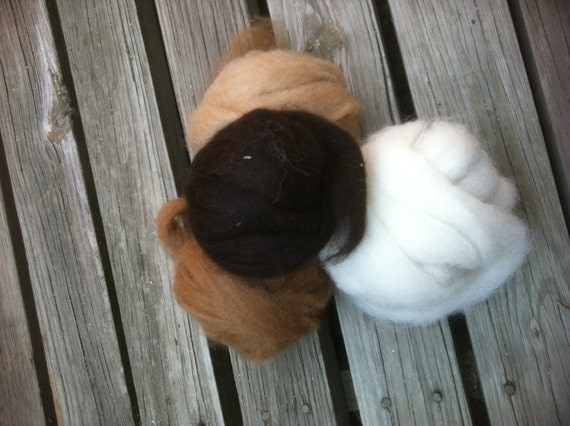 Alpaca Rovings White Beige Brown Dark Brown Colorado Alpacas 4oz