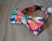 Classic Bow Tie in Purple Floral: Cat with Safety Buckle