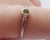 Sterling Silver Peridot Skinny Stacker Ring