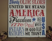 4th Fourth of July Independence Day Patriotic America Red White and Blue Sign Decoration