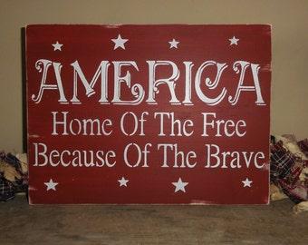 Primitive American America July 4th sign decoration