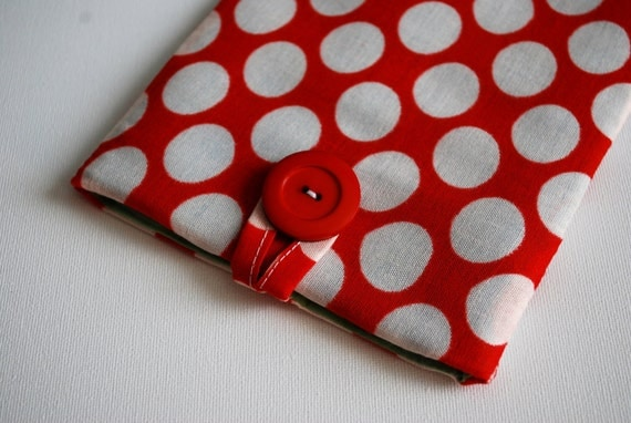 Kindle 3 (Keyboard) eReader cover case/sleeve handmade, red with big white dots - protect your kindle