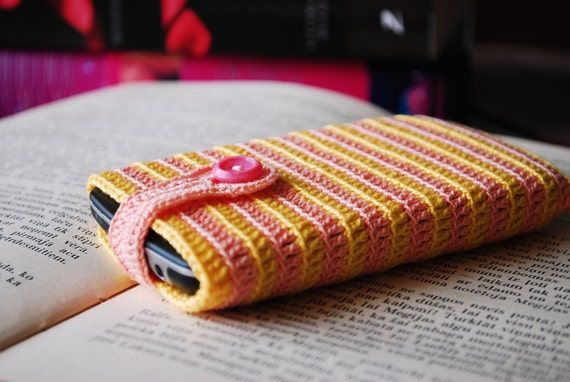 Cell phone handmade cover case/sleeve  in joyful yellow & pink - protect your phone