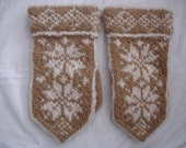 Camel and White Norwegien Style Mittens