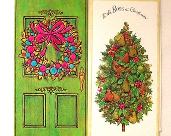 Two vintage holiday cards unsigned with envelopes.