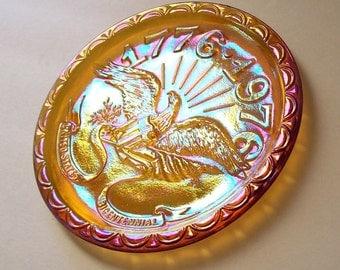 BiCentennial plate Indiana carnival glass