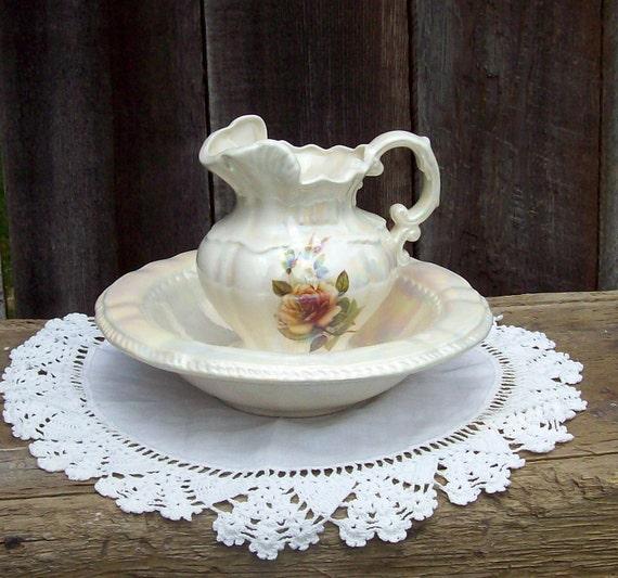Vintage pitcher and wash bowl set with rose design