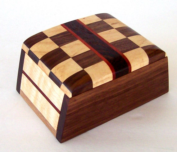 Wood keepsake box with checkerboard inlay design wooden box jewelry box gifts for him gifts for her