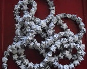 Power of Words, One of a Kind Monochrome Origami Lucky Star Garland with the Written Word