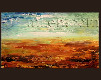 Abstract Landscape modern original painting oil on canvas Made to Order Contemporary orange yellow blue large handmade unique art by Milen