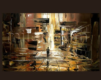 BOGO FREE SALE Print Giclee on canvas Original Painting Modern painting gift Urban Rainy Cityscape Brown Earth Tone Abstract fine art Milen