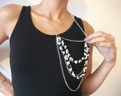 NEW -  Cotton necklace, Black and White, crochet