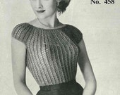 Mid 1950s knitted bombshell top, Patons 458 - Vintage Knitting Pattern booklet PDF (501)