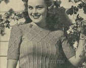 1930s interesting Trellis Yoked Jumper - vintage knitting pattern PDF (301)