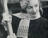 1940s Fair Isle Hat, Gloves and Scarf set, WWII era - vintage knitting pattern PDF (424)