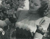 1940s Striped Chevron-lace Jumper, with puff sleeves - vintage knitting pattern PDF (432)