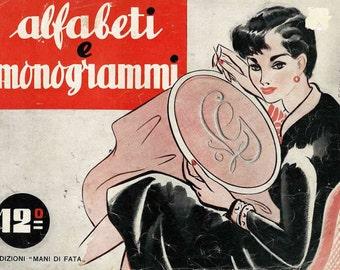 1950s Italian Monogram embroidery booklet, Alfabeti e monogrammi - vintage PDF