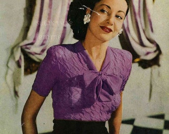 1940s  Bow Jumper and Cardigan, from Stitchcraft  - vintage knitting pattern PDF (433)