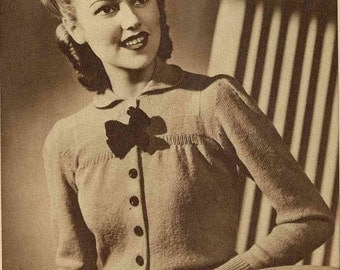 1940s Fetching and Feminine Cardigan, from Lux c. 1940 - vintage knitting pattern PDF (412)