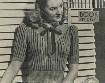 Pretty and Fancy Striped Pullover, c. 1940s -  vintage knitting pattern PDF (418)