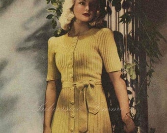 Wattle Gold, 1940s knitted dress - vintage knitting pattern PDF (444)
