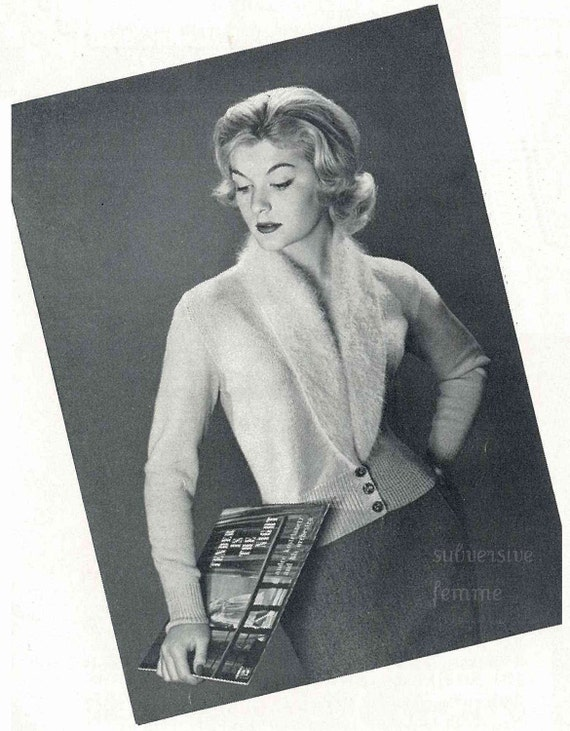 1950s knitted bombshell cardigan, 'Cornelia', multi-sized - Vintage Knitting Pattern PDF (504)