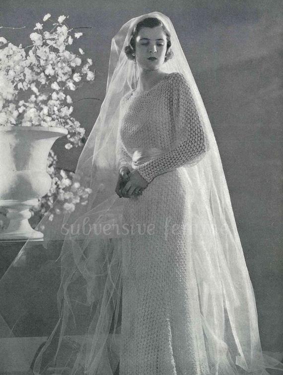 Early 1930s Art Deco Lace Wedding Dress Marina