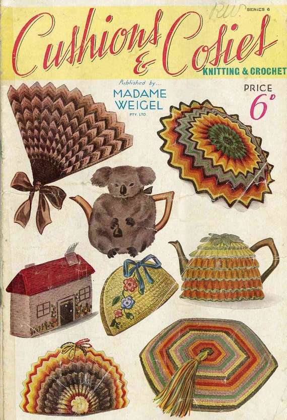 Madame Weigel Cushions and Cosies in Knitting and Crochet - vintage knitting pattern PDF