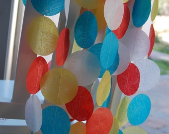 Tissue Paper Garland, Party Garland, Birthday Garland, Super Hero Garland, Circus Garland
