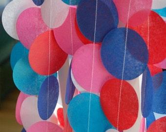 Tissue Paper Garland, Party Garland, Birthday Garland, Wedding Garland, Shower Garland: Retro