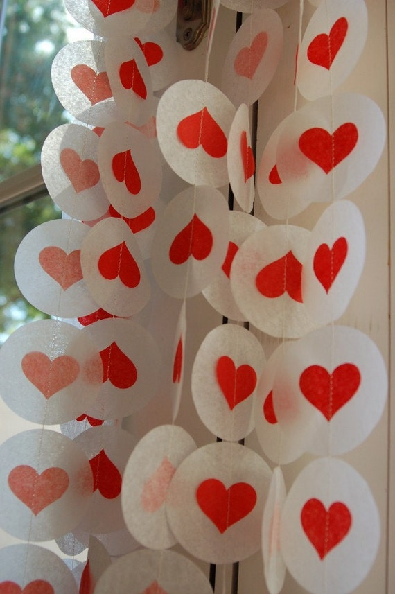 Tissue Paper Garland, Party Garland, Birthday Garland, Wedding Garland, Heart Garland, Shower Garland Photo Backdrop - Red Hearts