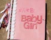"Scrapbooking album, premade, mini, pink, ""Sweet Baby Girl"","