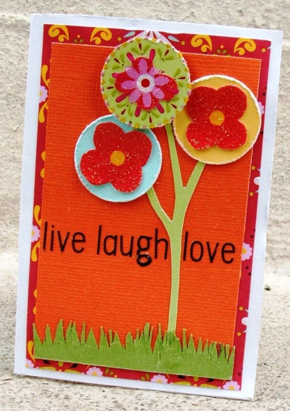 Mini scrapbook album accordion fold orange flowers