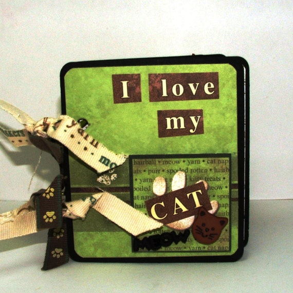 I Love My Cat Chipboard Scrapbook Mini Album, Cat Scrapbook, Premade Scrapbook