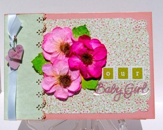 Baby Girl Scrapbook New Baby Photo Album  Brag Book for Grandma Mini Album Pink Green White