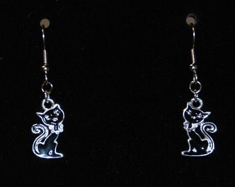 Black cat trimmed with silver, fish hook style earrings