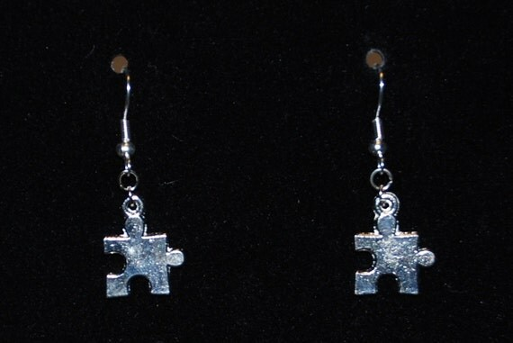 Autism Awareness earrings with small silver tone puzzle piece