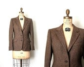 vintage jacket / blazer AQUASCUTUM . LONDON brown HERRINGBONE 1980's retro prep . s