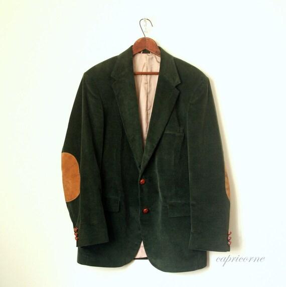 vintage sportcoat blazer FOREST CORDUROY 1980's jacket PROFESSOR suede elbow patches mens 42r