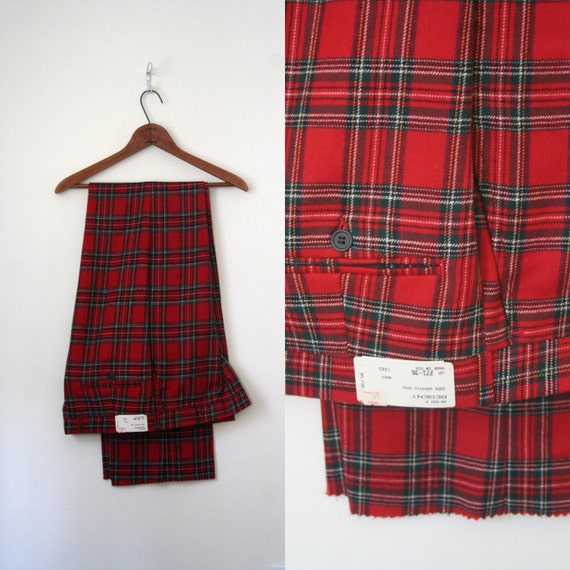 nwt . vintage pants HOLIDAY red plaid wool PREPPY by AgeofMint