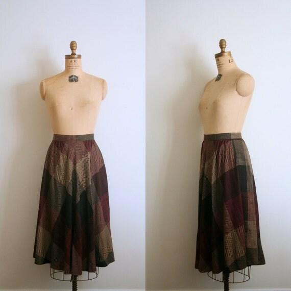 vintage skirt 1970's COLLEGIATE soft bias plaid BOHO autumn WINE