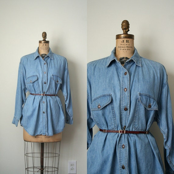 vintage DENIM chambray SHIRT oversize / slouchy FADED soft blue