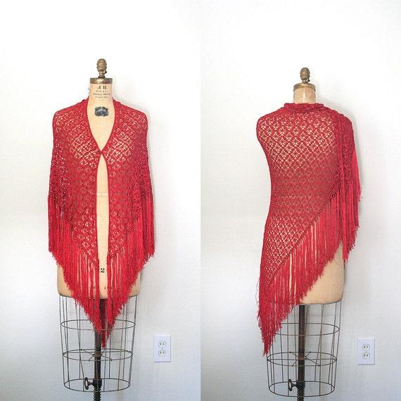 vintage crochet shawl / wrap HIPPIE / BOHO romantic FRINGE silky rayon/ rose wine