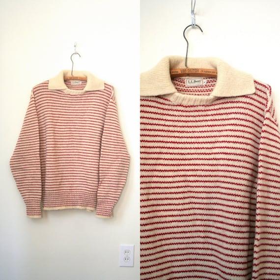 vintage wool sweater L.L. BEAN red & ivory STRIPED preppy / ski . xl