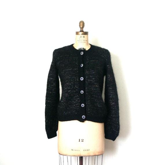 hand knit cardigan sweater MOHAIR retro 1980's black METALLIC YARNS sparkle
