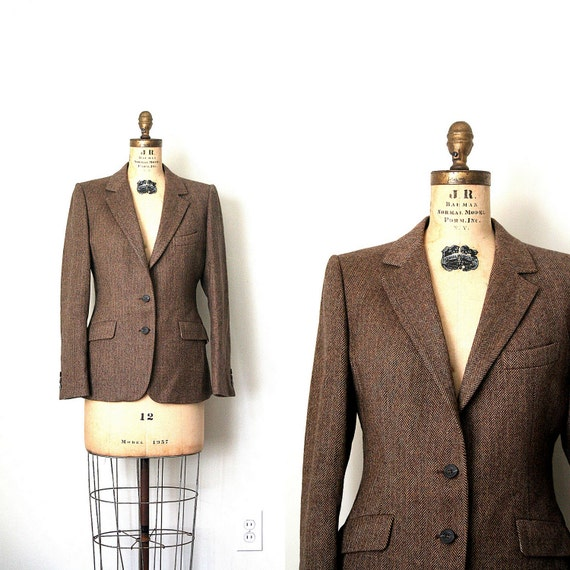 vintage jacket / blazer AQUASCUTUM . LONDON brown HERRINGBONE 1980's retro prep . s