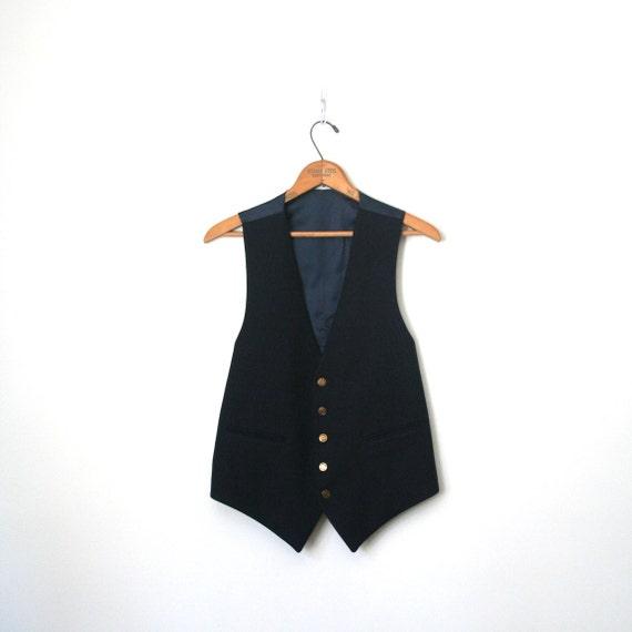 vintage vest PIERRE CARDIN navy blue wool DANDY signature buttons . mens / unisex